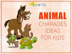 101 charades ideas for kids, including a list of great animal charades ideas. Charades Words, Charades For Kids, Charades Game, Games For Kids Classroom, Gym Games For Kids, Animal Activities For Kids, Summer Camps For Kids, Kids Party Games, Summer Activities For Kids