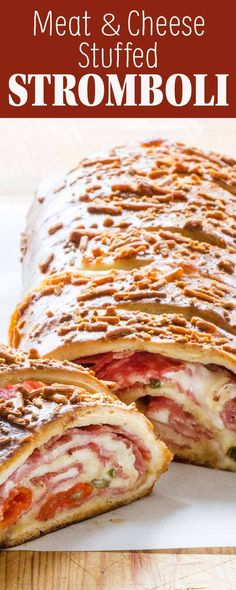 This meat and cheese-stuffed stromboli will feed a crowd! Homemade stromboli with ham, salami, provolone, and mozzarella rolled up in pizza dough. Easy to make, easy to share. Stromboli Dough Recipe, Stromboli Pizza, Homemade Stromboli, Pizza Hut, Ham And Cheese Stromboli Recipe, Meat Pizza, Pizza Sandwich, Pizza Food, Pizza Rolls