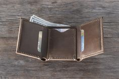 Trifold PERSONALIZED WALLET Men's Leather Trifold от JooJoobs