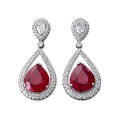 Burma Ruby and Diamond Drop Earrings - Recent Acquisitions | M.S. Rau Antiques