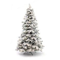 Flocked Christmas Tree Multicolor Lights