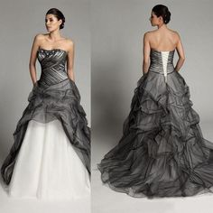 Plus Size Wedding Dresses 2014 White And Black Bridal Gowns Strapless A-Line Crystal Beading Sequins Noble Wedding Dresses Lace Up Gowns Online with $132.95/Piece on Newweddingdressshop's Store | DHgate.com