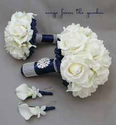 Reserved - Wedding Flower Package Bridal Bouquet Stephanotis Real Touch Roses…