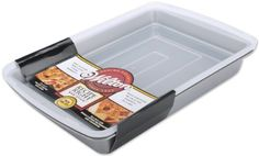 Whip up a batch of homemade brownies or bars using this 2-piece 9 x 13 non-stick pan set with a clear plastic lid that snaps into place for convenient food storage. Also, great for taking baked goods with you to a party or on-the-go. Recipe Right Non-Stick pans are designed for easy-release,... - http://kitchen-dining.bestselleroutlet.net/product-review-for-wilton-recipe-right-9x13-oblong-pan-with-cover/