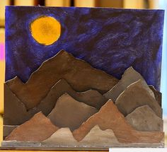 Planar Landscape sculptures  This could be done with cardboard or old construction paper.