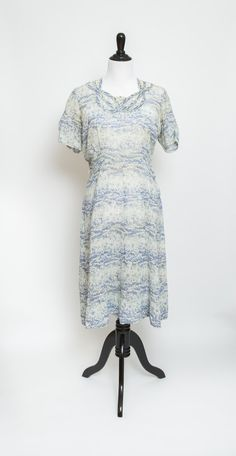 Sheer blue and white vintage dress by ReadyandMabel on Etsy
