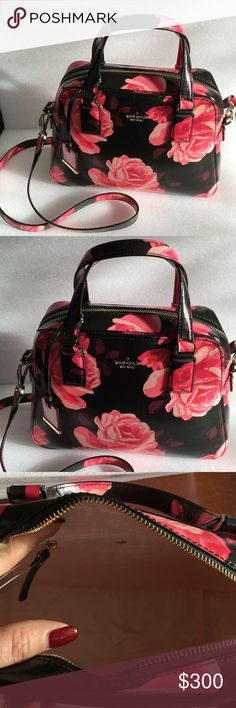 """Kate Spade Small Holly Kate Spade Cameron Street Small Holly. Printed glazed roses on saffiano leather. Beautiful bag black with dark and light pink roses with opcional crossbody strap interior zip and double slide pockets. gold plated metal kate spade new york signature. Size  8.3""""h x 11""""w x 4.3""""d 4.5"""" from handle 21"""" adjustable. New kate spade Bags Shoulder Bags"""