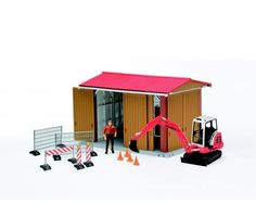 Construction Shed w/Excavator, Man and Accessories  18x14x12 by Bruder Toy Toys