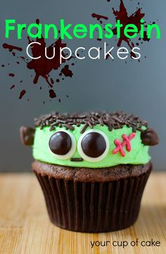 Frankenstein Cupcakes- by Your Cup of Cake My favorite website to go to! Such cute cupcakes... I'm going to have to make these!