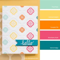 Stampin' Up! Color Combo: Pool Party, Daffodil Delight, Pumpkin Pie, Strawberry Slush, Island Indigo #stampinupcolorcombos