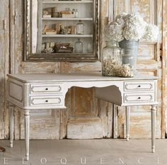 Coco Madame Desk in Silver Highlight Eloquence® Coco Madame Desk in Silver Highlight finish. Gorgeous and classic French style desk for your office. In warm aged white with silver trim. Ample workspace and deep, long drawers. Also available in Gilt Highlight.