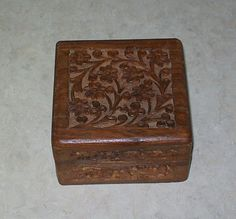 Vintage, wooden trinket box from India, hand carved top & sides