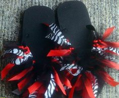 Ribbon and tulle  tutu style flip flops by SpiritToes on Etsy, $10.00