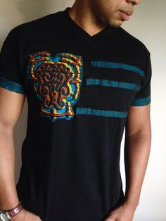 Front Stripes Black African Print Tshirt by cocushubi on Etsy