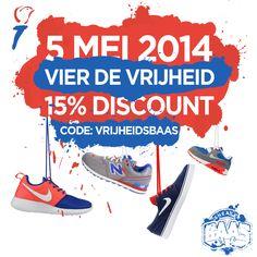 5 MEI 2014 Vier de Vrijheid!   15% Discount!   www.sneakerbaas.nl   #FREEDOM #DISCOUNT #SNEAKERS