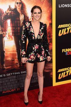 Kristen Stewart in a Zuhair Murad playsuit and Jimmy Choo heels.