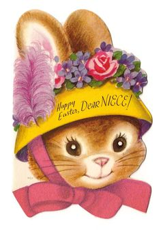 Vintage Greeting Card Easter Die Cut Bunny Rabbit Wearing Hat Bonnet Rust Craft | eBay