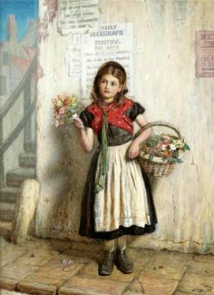 William Baxter Collier Fyfe ~ The Flower Girl (1869) ~ Victorian British Paintings: ~(W Is For William) ~ 19thcenturybritpaint.blogspot.com841~ Buscar Con Google