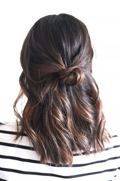 3-Minute Hairstyles for When You're Running Late - Hair knot for a simple half up half down hairdo - Midlength hair ideas