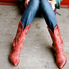 Red Cowboy Boots by wallfrostingbyeb on Etsy