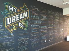 Normally we share a picture from a church. But this was too good not to pass along. It's from a software company in Arizona. They have devoted space in their building to let people share their dreams. Employees can write on the chalkboard wall.  You could use this idea as a general display (write your prayer requests) or you could use something like this for an upcoming message on thankfulness.