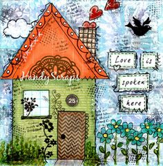 Love is Spoken Here Mixed Media Art Original door HandyScraps
