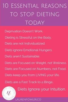 10 Essential Reasons to Stop Dieting Today 10 Essential Reasons to Stop Dieting Today Here's exactly WHY diets don't work - physically, mentally, emotionally + how to start practicing intuitive eating. Binge Eating, Stop Eating, Clean Eating, Stress Eating, Stop Overeating, Compulsive Overeating, Eating Disorder Recovery, Diet Books, Intuitive Eating