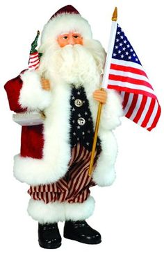 "15"" Patriotic USA Santa Claus Figure with Statue of Liberty and American Flag. #SantaClaus #Santa #Claus #Christmas  #Figurine #Decor #Gift #gosstudio .★ We recommend Gift Shop: http://www.zazzle.com/vintagestylestudio ★"
