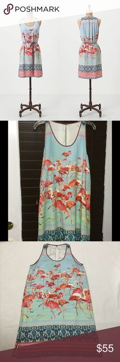Anthropologie Dream Daily Elornis Dress Dream Daily Anthropologie Rozae Nichols Elornis shift dress with a fabulous flamingo print. Small open slit on the back. Size Small 34inch Bust, 36-37inch waist, 40inch hips, 36inches long. 100% polyester. Missing tie belt. Great Used Condition. No tears. Anthropologie Dresses
