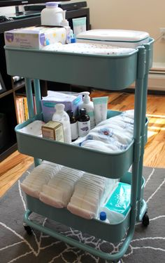 Changing cart good organization for a small space. Could also be used for taking care of a sick loved one. Everything in one place and mobile! Great idea.