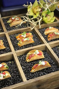 Wedding Food Mini Tacos served in Bean Filled Boxes I La Bonne Cuisine, Catering and Events I Mini Tacos, Brunch, Tapas, Party Food Buffet, Catering Food, Catering Display, Catering Design, Food Displays, Food Decoration