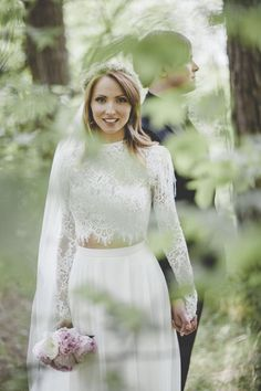 Real wedding in Finland. Dress made by Pukuni (www.pukuni.fi). Photo - René Garmider. Wedding dress with lace crop top and open lace back. Chiffon dress.