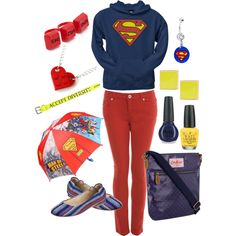Love the sweatshirt, shoes, pants, necklace and messenger bag. Umbrellas cool too but maybe not with this outfit