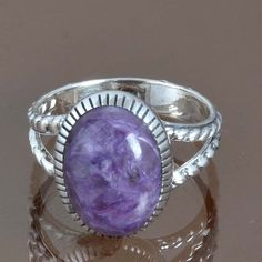 EXCLUSIVE 925 STERLING SILVER CHAROITE NEW FASHIONABLE RING 4.27g DJR9067 SZ-7 #Handmade #Ring