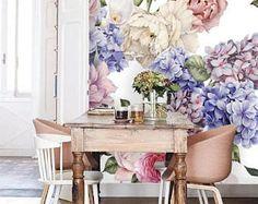 914766621e9d Floral deep blue wall mural, self adhesive, removable wallpaper, vintage  watercolor floral mural, temporary nursery wallpaper, peelstick, 77