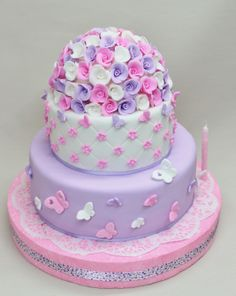 Flowers & Butterfly Cake by Violeta Glace