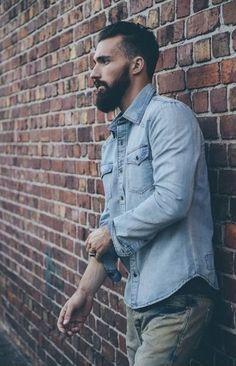 Simple light washed denim shirt for men                              …