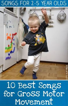 Best Songs for Gross Motor Movement These best 10 songs for Gross motor movement have plenty of ideas to keep the liveliest toddlers active!These best 10 songs for Gross motor movement have plenty of ideas to keep the liveliest toddlers active! Lets Play Music, Music For Kids, Songs For Kids, Fun Songs, Toddler Music, Children Music, Kids Dance Songs, Children Games, Children Crafts