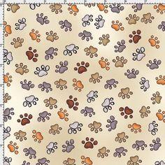 Puppy~Paws~Bone Cotton Fabric by Loralie Designs