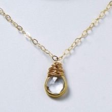 Crystal Quartz & Goldfill Necklace #april #birthstone #wirewrap #handmade #birthdaygift www.jewelya.com