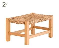 Set de 2 taburetes de madera y mimbre