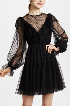 Women Black Sheer Mesh Polka Dot Puff Sleeve Chic A Line Dress - S - Summer Dresses for Women Cute Dresses, Casual Dresses, Short Dresses, Fashion Dresses, Prom Dresses, Summer Dresses, A Line Dresses, Fashion Top, Mini Dresses