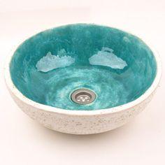 Turquoise stenen spoelbak handgemaakte wastafel overtreffen