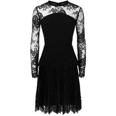 Elie Saab Lace Panel Peplum Dress (€2.655) ❤ liked on Polyvore featuring dresses, lace peplum dresses, lace party dresses, see through dress, lace cocktail dress and night out dresses