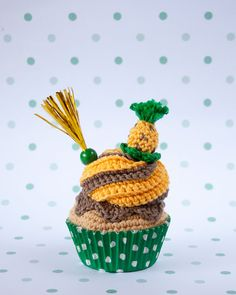 Pineapple Crochet cupcake #26 [Summer collection]