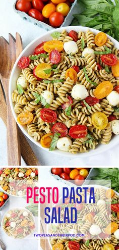 You Only Need 5 Ingredients To Make This Easy Pesto Pasta Salad! It Is The Perfect Pasta Salad For Summertime! Visit twopeasandtheirpod.com for more simple, fresh, and family friendly meals. #pasta #salad #summer #easyrecipe #pesto #easymeals #dinner
