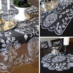 Heritage Lace Sugar Skulls Table Topper - My Sugar Skulls