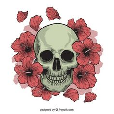 Skull with hand drawn flowers Free Vector Emoji Flower, Emoji Tattoo, Evil Skull Tattoo, Flower Silhouette, Emoji Wallpaper, Skull Wallpaper, Skulls And Roses, Hand Drawn Flowers, Large Tattoos