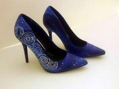 Hand painted Doctor Who inspired gallifreyan shoes.  The design of these shoes is inspired by Doctor Who. Hand painted and decorated with Swarovski