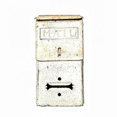 Vintage White Metal Mailbox. Shabby yet Chic. Just $29 only from American Antique on Etsy @ etsy.com/listing/270455554/vintage-white-mailbox - #forsale #vintage #vintagedecor #homeimprovement #renovate #vintagemail #letters #mailbox #vintagemailboxes #hom